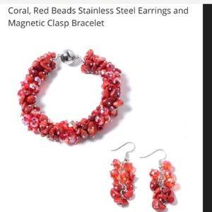 Jewelry - Bracelet: Red Coral Magnetic bracelet w/ earrings.